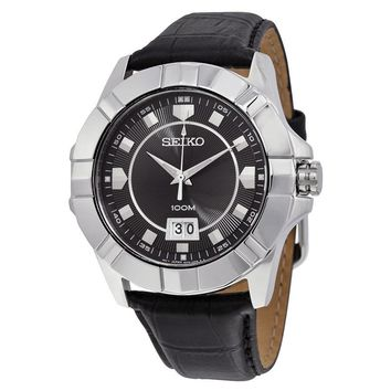 Seiko Lord Black Dial Black Leather Mens Watch SUR131