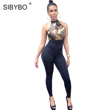 Women Black Sequin Rompers Elegant Halter Backless Bodycon Long Bodysuit Femme Sexy See Through Overalls Club Jumpsuit