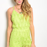 Neon Green Lace Romper
