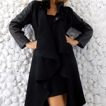 Black Asymmetrical Coat / Thick Knit Coat with Natural Leather Sleeves / Extravagant Black Knit Coat TC19 / FALL WINTER  2014