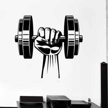 Vinyl Wall Decal Hand Dumbbell Bodybuilding Fitness Sport Gym Stickers Unique Gift (ig4442)