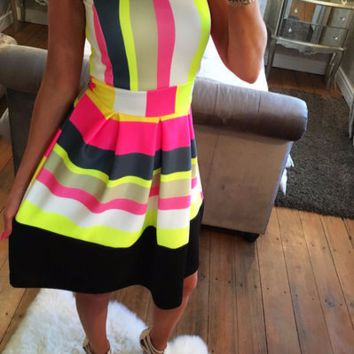 Stylish Vibrant Multicolor Sleeveless Trendy Dress