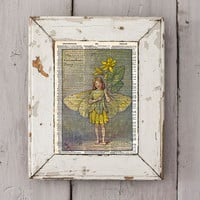 Vintage Flower Fairy art - Celadine flower Fairy - Fairy art print,  Dictionary print art