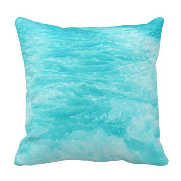 Turquoise Sea Water with Splashes - Throw Pillow