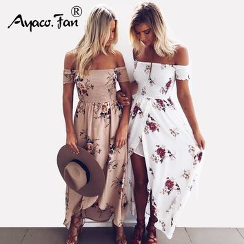 Summer Boho Style Long Dress Women Off Shoulder Beach Dresses Floral print Vintage Chiffon White Maxi Dress vestidos de festa