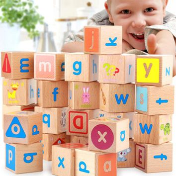 Educational Wooden Block Letters Toys 26pcs