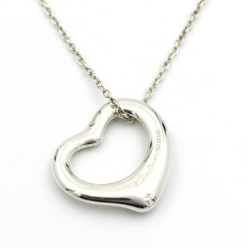 Tiffany & Co. Elsa Peretti 16mm Open Heart Pendant Necklace in Sterling Silver