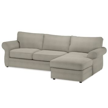 Pearce Upholstered Left Arm 2-Piece Sectional with Chaise, Down-Blend Wrap Cushions, Performance Tweed Silver Taupe