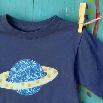 Planet Saturn Appliqued Tshirt Blue Longsleeve Boys by OddEDesigns