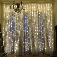 3M x 3M 300 LED Outdoor Home Warm White Christmas Decorative xmas String Fairy Curtain Strip Garlands Party Lights For Wedding