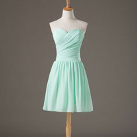 New arrival Mint Green Sweatheart Chiffon Satin Knee-length Bridesmaid Prom Party Dress