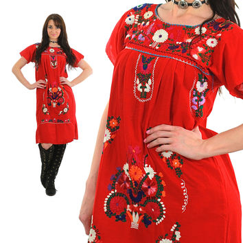 Mexican Embroidered Dress Mini Oaxacan Boho Cotton Tunic 70s Hippie Floral Ethnic Red 1970s Bohemian Vintage Embroidery Red Medium 2595