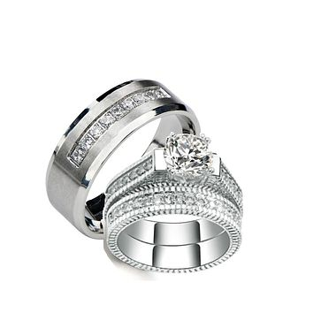 His Hers Wedding Ring Sets Cz  Matching Wedding Ring Set