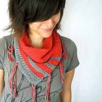 Coral Stripes Knit Scarf with Fringe - Tangerine Coral Orange and Gray Spring Scarf