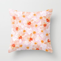 orange and pink watercolor dahlias Throw Pillow by Sylvia Cook Photography