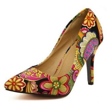 printed chaussure femme ladies high heels women pumps embroider wedding shoes woman zapatos mujer sapato feminino BY17845