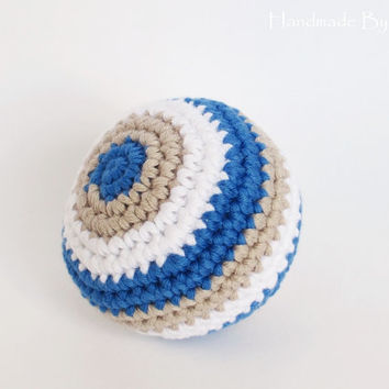 Crochet baby toy rattle ball - organic cotton - blue, beige and white