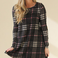 Plaid Dress with Suede Elbow Patches