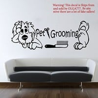 Dog Wall Decals Pet Grooming Decal Comb Scissors Vinyl Sticker Pet-Shop Grooming Salon Home Decor Art Mural Ms274