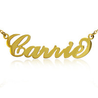 Carrie Jewelry Personalized Name Necklace Gold & Silver Nameplate Pendant Sex and City Name Jewelry Brass Metal Necklace Best gift for girls