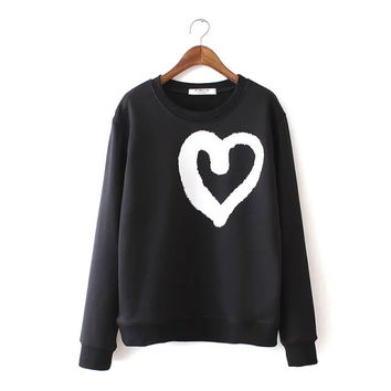 Black And White Heart Print Sweater