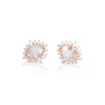 Rose Gold Rainbow Moonstone and Diamond Flowerburst Studs 06f4812249