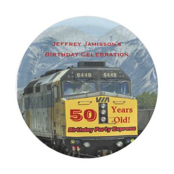 Railroad Train Paper Plates, 50th Birthday, Custom Paper Plate