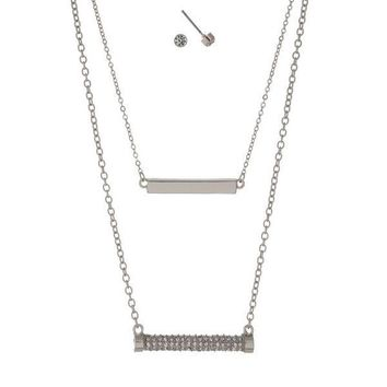Double Layer Necklace Set with Pave Rhinestone Bar Pendant and Matching Earrings