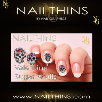 Valentine SUGAR SKULLS 20 Nail Decal Nail Art  by NailGraphics