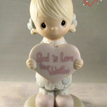 Precious Moments God is Love Dear Valentine Enesco Imports Jonathan and David Figurine 1981