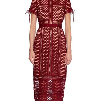 Panelled lace midi dress | self-portrait | MATCHESFASHION.COM US