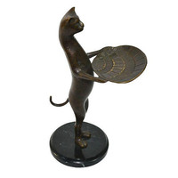 Vintage Cat Business Card Holder Bronze Cat Butler Dish Art Deco Cat Statue Valet with Seashell Dish
