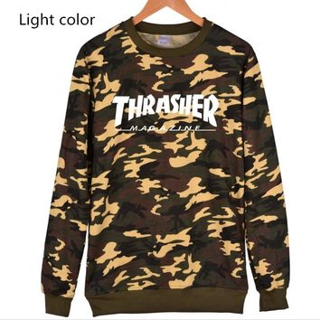 Thrasher Flame jacket with long sleeves loose set of Pullovers sweater White