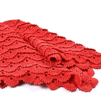 Handmade Baby Blanket, Red Crochet new baby blanket