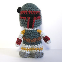 Boba Fett inspired amigurumi. Star Wars Softie.