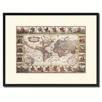 Geographic Vintage Antique Map Wall Art Home Decor Gift Ideas Canvas Print Custom Picture Frame