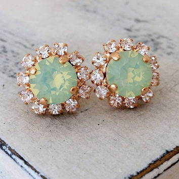 Rose gold mint opal crystal stud earrings, Bridesmaids gift, Bridal earrings, mint stud earring, Swarovski crystal halo stud, gold or silver