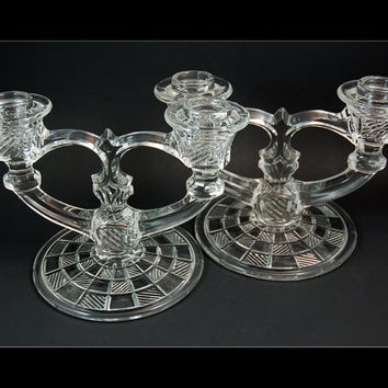 Glass Double Candle Holder Pair, Indiana Glass, Block and Rib Pattern, 1939-1945