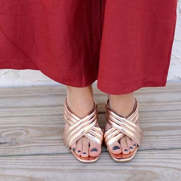 Rose Gold Criss Cross Sandal Heels