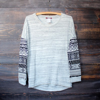 aztec sleeves grey marbled jumper | final sale