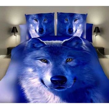 New Style Blue Wolf 3D Bedding Queen Bedding Set Cotton Bed Sheets Duvet Cover Quilt Cover 4PCS (Size: Queen, Color: Blue)