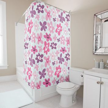 Pink Flowers and Blue Hearts Cute Whimsical Shower Curtain