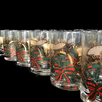 Vintage Culver Christmas Glasses Yule Horn 22K Gold Set of 12 Cocktail Glasses Old Fashioned Driking Glasses Vintage Barware Plaid Ribbon