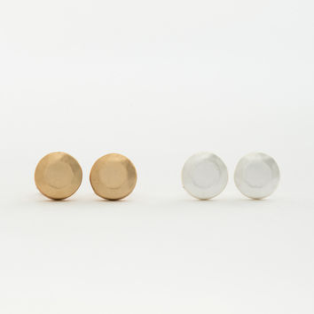 Faceted Stone Stud Earrings Set - Matte Gold and Silver