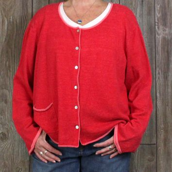 Nice Gudrun Sjoden XXL 2xl size Cardigan Sweater Red Pink Organic Cotton Womens Artsy