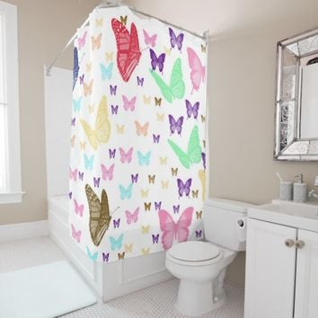 Multi-color butterfly pattern shower curtain