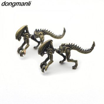 P1137 Dongmanli 1pair 2017 Alien Earrings High Quality Plated Metal Earrings Punk Wind Studs 's