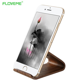 FLOVEME Universal Holder Stand For iPhone 6 6Plus 7 7Plus Wooden Phone Holder For Samsung Huawei Xiaomi LG For iPad Desk Tablet