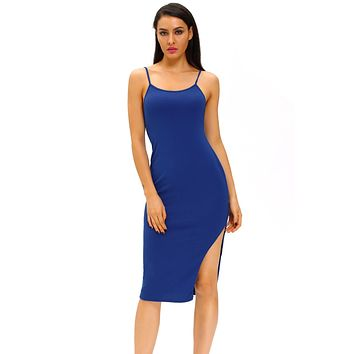 Blue Side Slit Midi Dress