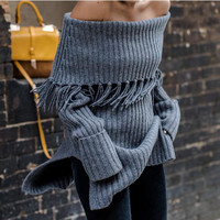 Fashion A shoulder Lapel  sexy Knitwear sweater